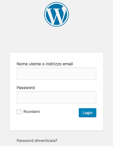 Entrare in WordPress login wordpress
